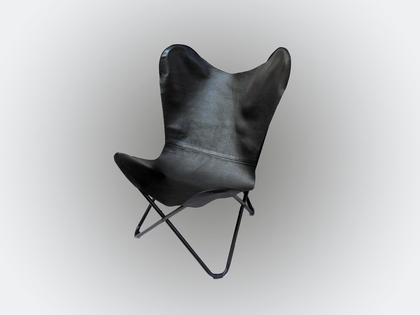 BUTTERFLY CHAIR by FetP, en cuir de taurillon grainé noir