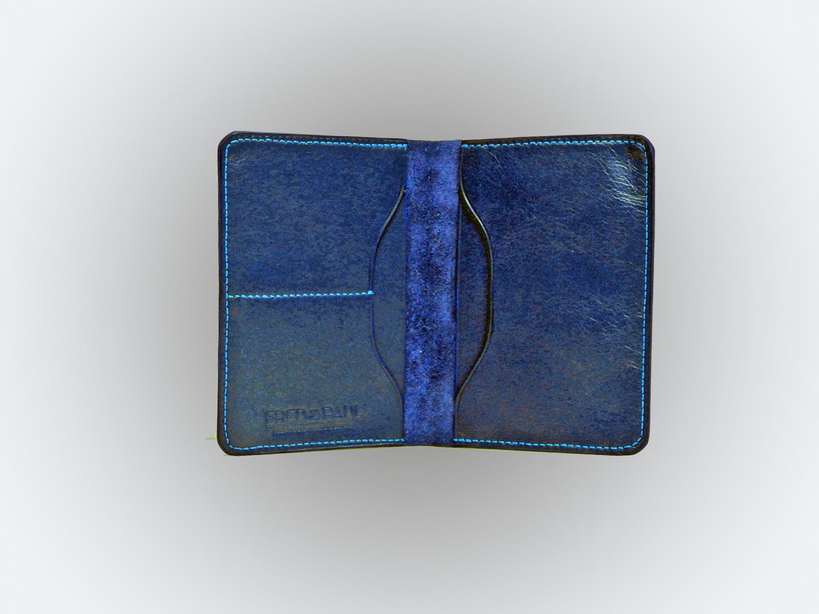 BALI, protège passeport en cuir de veau bleu jean