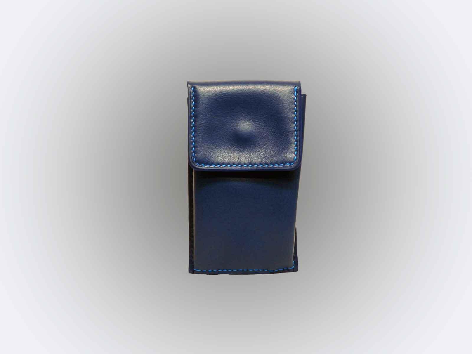 EUGENE, porte-clefs en cuir de veau bleu jean