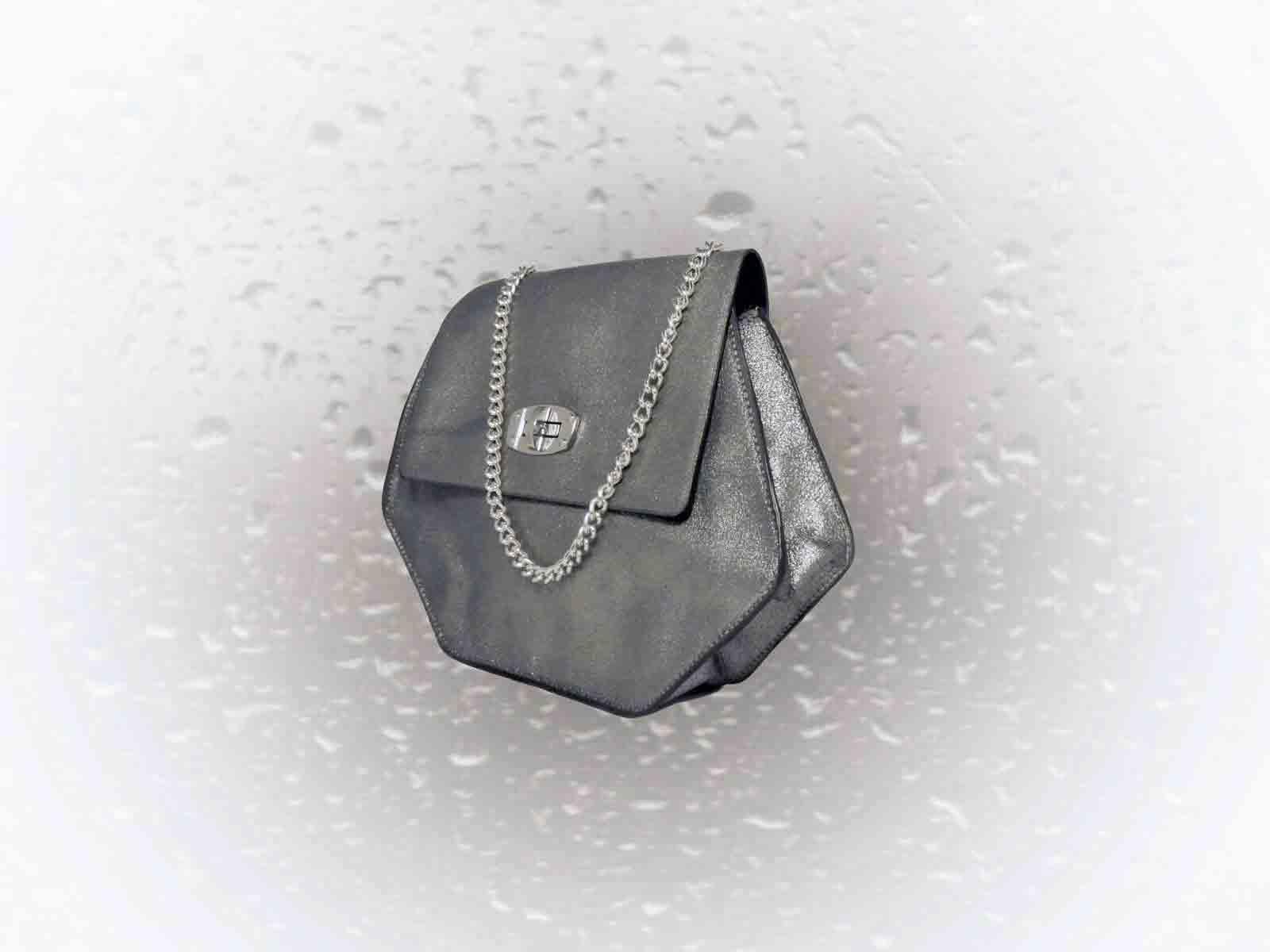 PUMORI S sac porté épaule ou croisé en cuir de veau argent