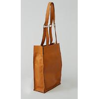 KAMET sac shopping en cuir de veau orange tangerine porté main ou épaule