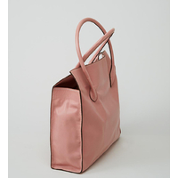 MANASLU sac cabas en cuir de veau grainé rose dragée porté main ou épaule