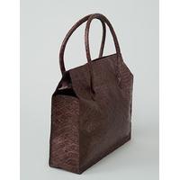CHOGORI sac en cuir de veau façon reptile amarante porté main ou épaule