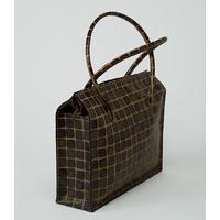 CHOGORI sac en cuir de veau vert kaki et beige porté main ou épaule