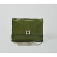 DHAULAGIRI sac bandoulière à chaine en cuir de chèvre métallisé verni vert
