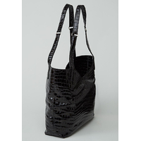 CHANGTSE sac en cuir de veau façon croco noir verni porté main ou épaule