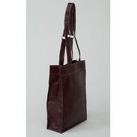 KAMET sac shopping en cuir de veau prune porté main ou épaule