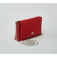 POKALDE pochette en cuir de veau rouge garance porté main ou épaule