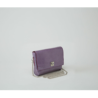DHAULAGIRI sac bandoulière à chaine en cuir de chèvre métallisé verni violet