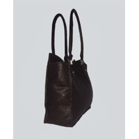 MELUNGTSE sac en cuir d'agneau foulonné noir carbonne porté main ou épaule