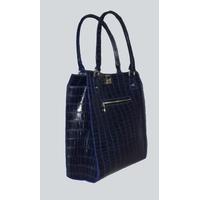 NANGA PARBAT sac en cuir de vachette façon croco bleu porté main ou épaule