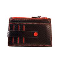 TRIPURA porte monnaie - cartes en cuir de veau façon lézard noir