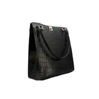 NANGA PARBAT sac en cuir de vachette façon croco noir porté main ou épaule