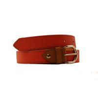 SHILLONG ceinture réversible en cuir de veau grainé rose orangé et lisse fauve
