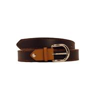 SHILLONG ceinture réversible en cuir de veau lisse chocolat et fauve