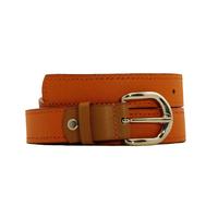 SHILLONG ceinture en cuir de veau grainé mandarine et grainé fauve