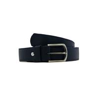 SHILLONG ceinture réversible en cuir de veau lisse noir mat et noir satiné