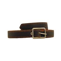 SHILLONG ceinture réversible en cuir de veau lisse chocolat et grainé mandarine
