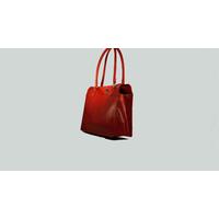 MAKASSAR sac porté main ou épaule en cuir de veau rouge