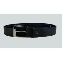 SHILLONG ceinture réversible en cuir de veau satiné et mat noir