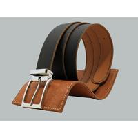SHILLONG, ceinture réversible en cuir de veau lisse bleu nuit et grainé fauve