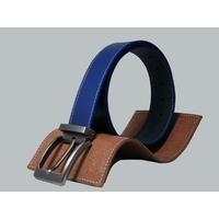 SHILLONG, ceinture réversible lisse bleu denim & grainé bleu