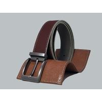 SHILLONG, ceinture réversible lisse bordeaux & grainé gris