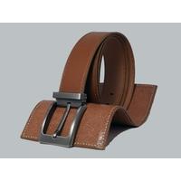 SHILLONG, ceinture réversible lisse fauve & grainé fauve