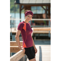 T-shirt sport femme manches courtes bicolore - laine mérinos et soie
