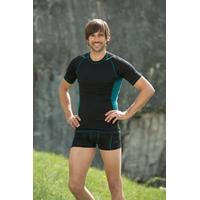 T-shirt homme manches courtes bicolore - laine mérinos et soie