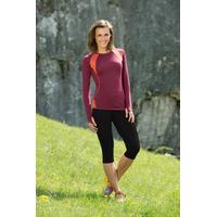 T-shirt sport femme manches longues bicolore - laine mérinos et soie