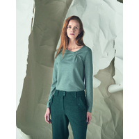 """T-shirt manches longues col asymétrique femme """"889"""" - chanvre et coton"""