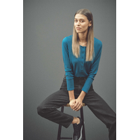 """T-shirt femme manches longues avec encolure boutonné """"667"""" - chanvre et coton bio"""