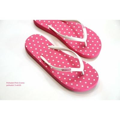 tongs naturelles pink-polka-dot-cream