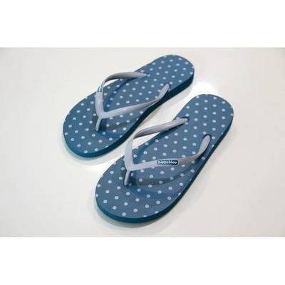 tongs latex hippobloo madere-new-blue-polka-dot-grey-