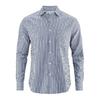 chemise ecologique DH023_stripes_Bleu-blanc rayé (corps) Bleu uni (col intérieur)