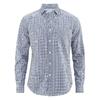 chemise écossaise chanvre DH023_Bleu-blanc écossais (corps) Bleu uni (col intérieur)