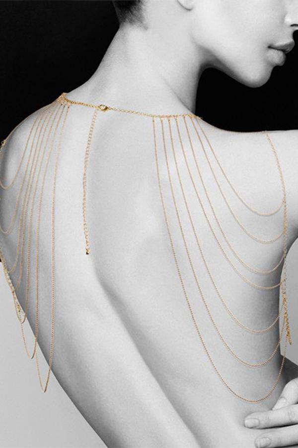 Bijou épaules & dos métallique doré