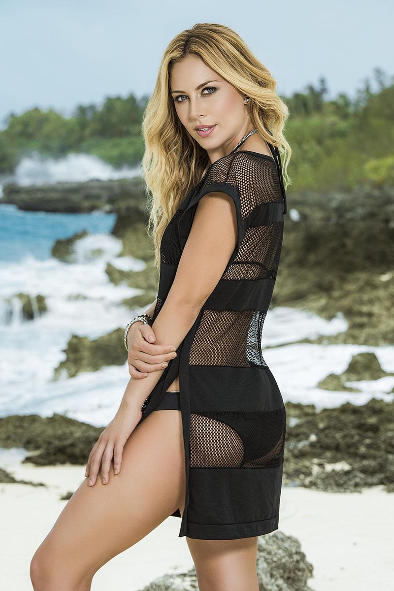 Robe de plage noire 7819