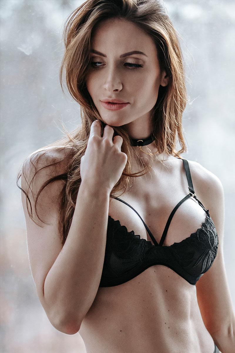 Soutien-gorge plunge brodé Noir