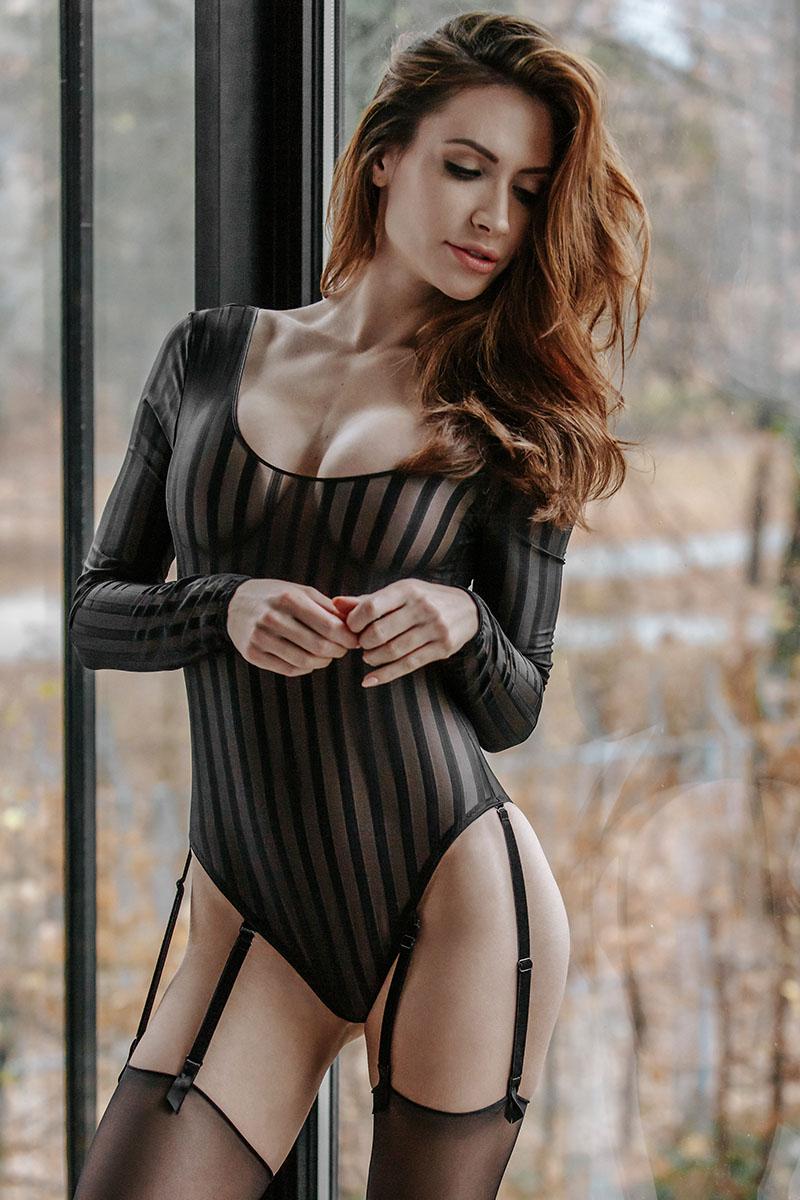Body jarretelles & tulle Noir
