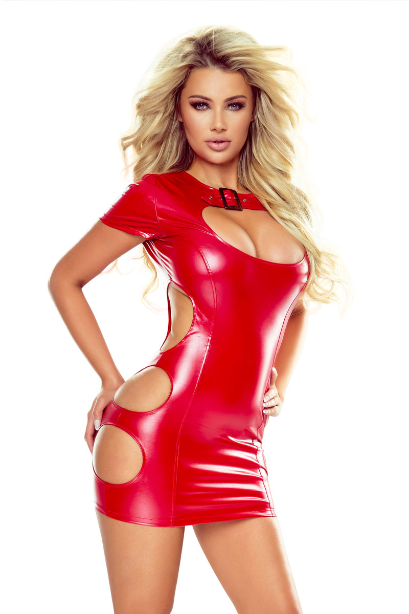 Robe wetlook rouge