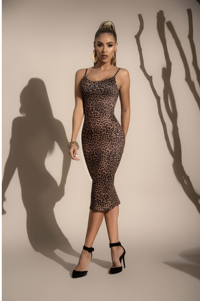 Robe mi-longue léopard 4529