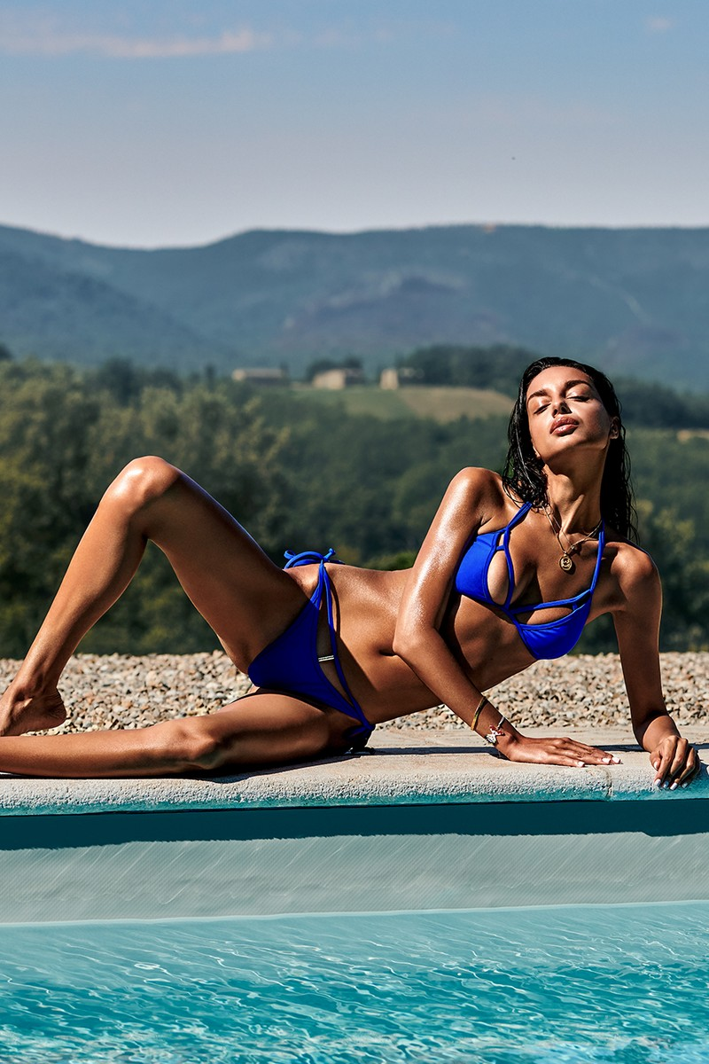 Bikini tanga Costarica bleu