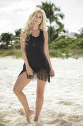 Robe de plage à franges 7859