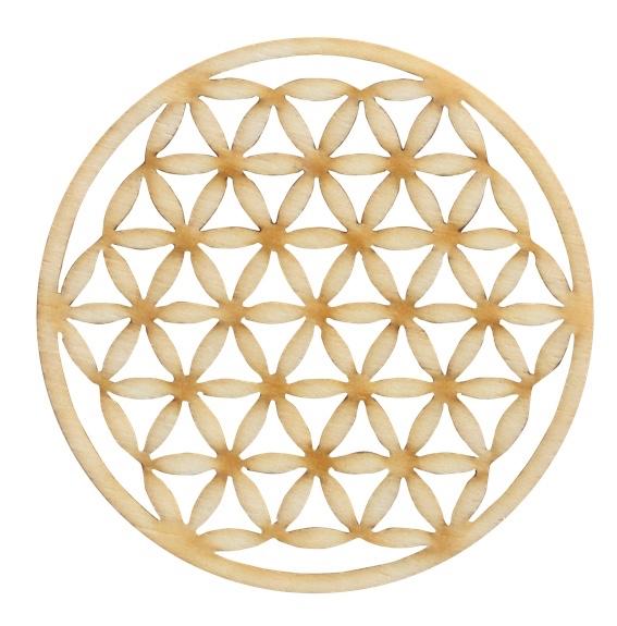 fleur de vie en bois de peuplier diam tre 5 5 cm porte bonheur secret esoterique. Black Bedroom Furniture Sets. Home Design Ideas