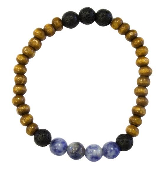 Bracelet Homme : Perles de Lave, Bois et Sodalite