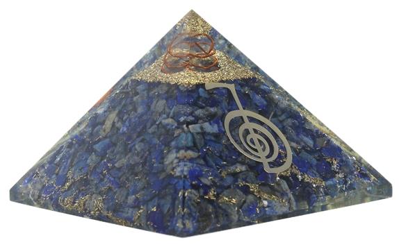Pyramide Orgonite Lapis Lazuli avec Symbole Reiki