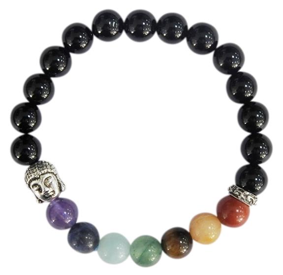 Bracelet 7 Chakras Onyx noir Perles rondes 8 mm