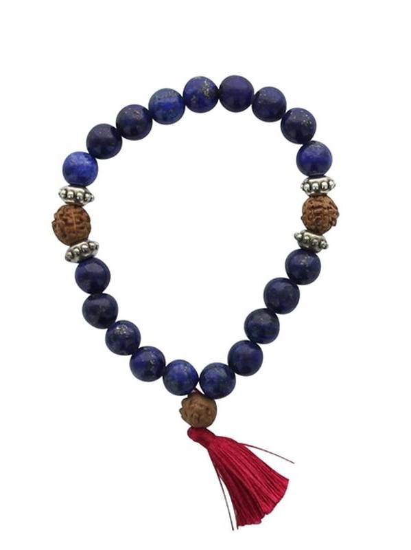 Bracelet Mala en Lapis Lazuli et Rudraksha